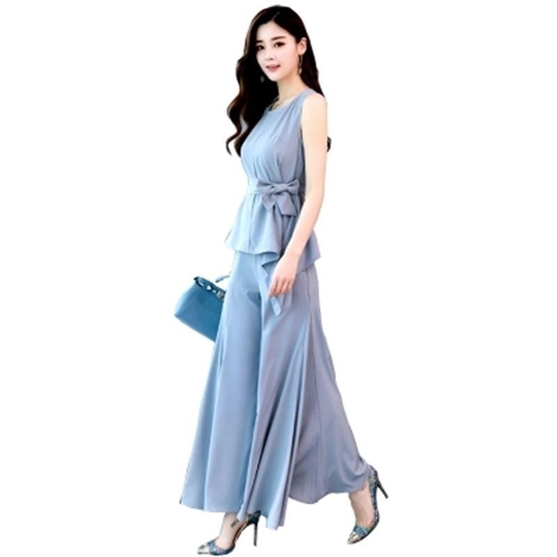 Costume de mode femme été nouvelle chemise en mousseline de soie pour femmes + pantalon à jambes larges deux pièces costume de mode femme