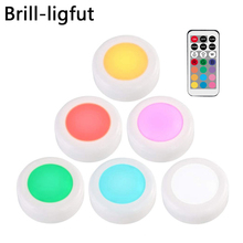 RGB 12 Colors Under Cabinet Light Dimmable LED Puck Lights Wireless Downlight Spotlights LED Kitchen Closet Wardrobe Lighting