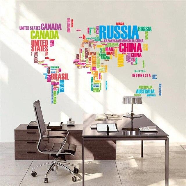 US $6.99 |Grande Creativo Colorato Lettere World Map Vinyl Wall Sticker  Soggiorno camera Complementi Arredo Casa Smontabile del PVC di Arte Della  ...