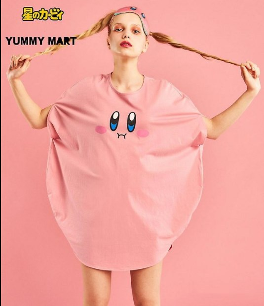 Star Kirby x YUMMY Loose T Shirt Cartoon Anime Summer Shirts Batwing Sleeve Top Tee Halloween Cosplay Costume-in Game Costumes from Novelty & Special Use