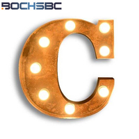 BOCHSBC Iron Art Letters C Wall Lights Deco Vintage Creative Logo C Led Lamp for Hotel Restaurant Bar Applique murale lampara