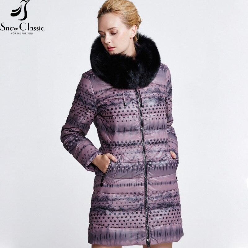 Snowclassic зимние теплые пуховик Женская длинная куртка Ultra Light 80% белый куртки-пуховики Толстый Тонкий дамы 6 цветов 2018