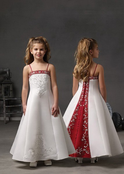 Hot Sales Vintage Red and White Satin Embroidery Flower Girl Dresses for Weddings Button Back girls pageant dresses
