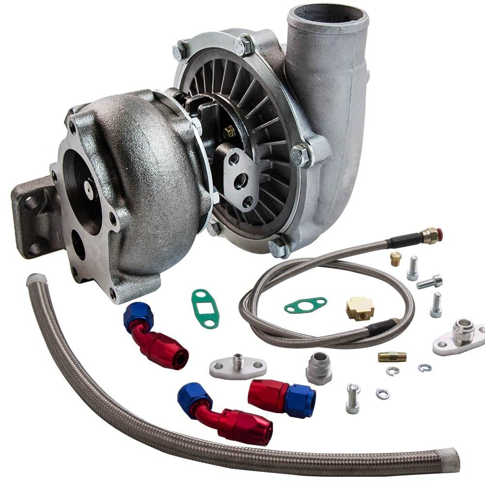 T3/t4 t04e. 57 a/r desempenho turbocompressor + óleo feed & retorno linha kit 300 + hp óleo de refrigeração turbo para 1.6 2.5l wastegate interno - 3