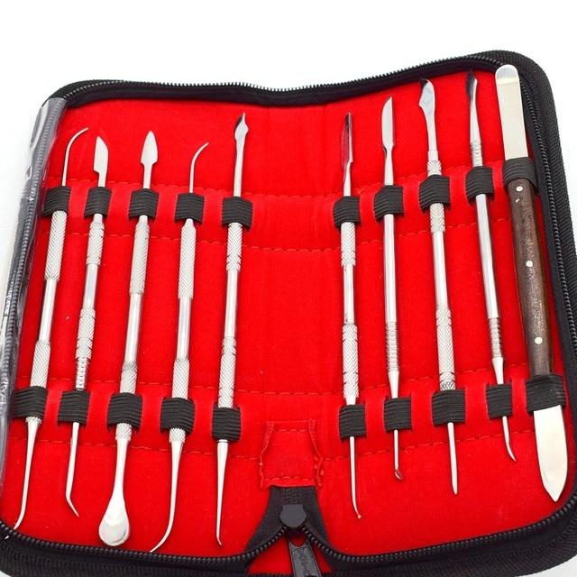 Dental Wax Carving Knife Dental Instrument Tool Kit Jewelry Emagraver Engraving Tools 10pcs/set