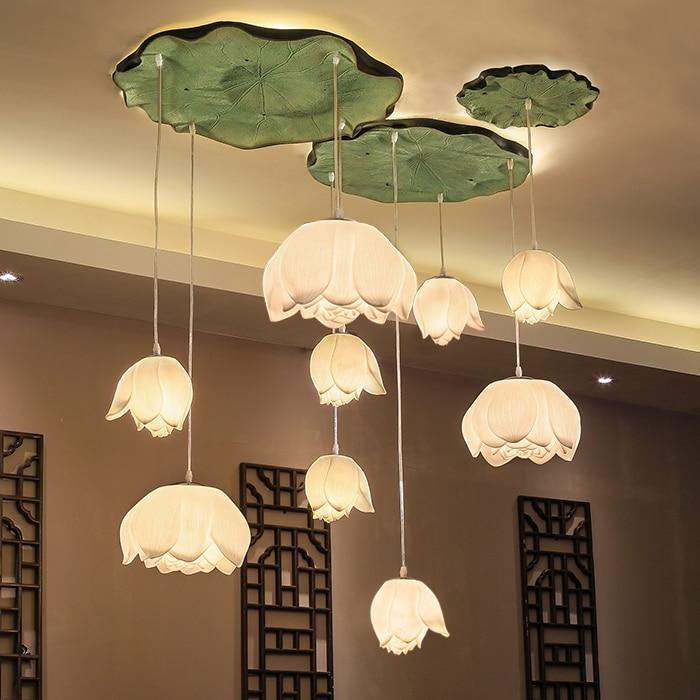 new Chinese pendant lights restaurants living room lamp lotus lotus art pendant lamp FG8559 new chinese style hand knitting bamboo art pendant lights vintage elegant lamp for tearoom