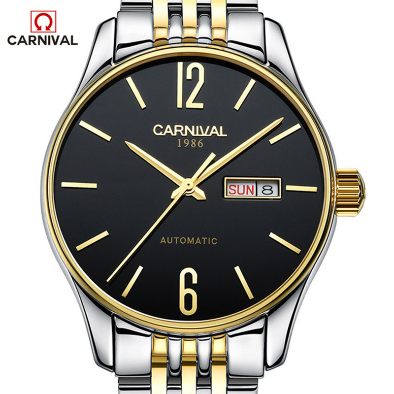 CARNIVAL Fashion Mens Mechanical Watches Business Stainless Steel Waterproff Automatic Watch Men Clocl relogio masculino 2017