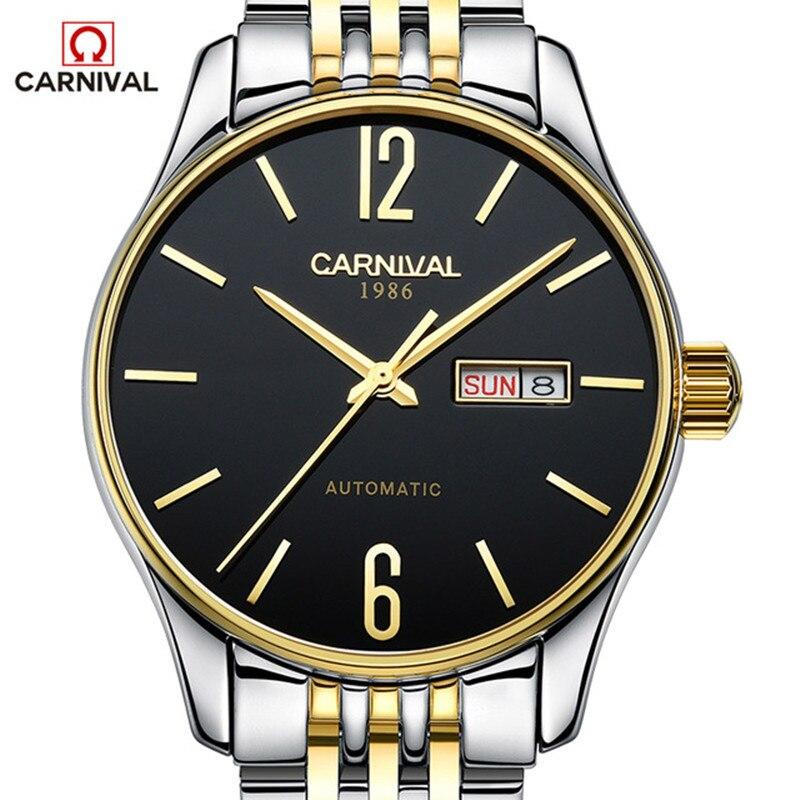 CARNIVAL แฟชั่นบุรุษนาฬิกาธุรกิจสแตนเลสกันน้ำอัตโนมัตินาฬิกาผู้ชาย Clocl relogio masculino 2017-ใน นาฬิกาข้อมือกลไก จาก นาฬิกาข้อมือ บน   1