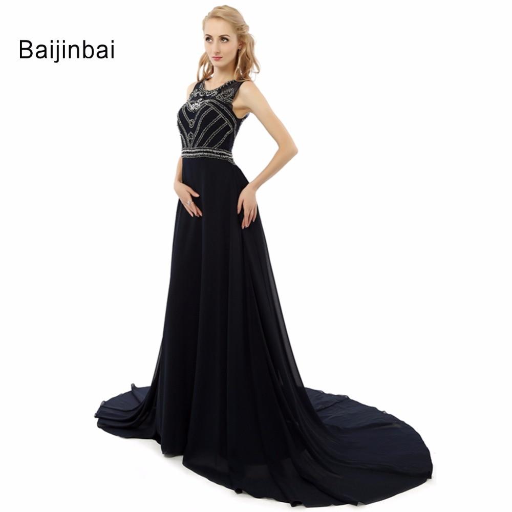 d2ef6f2786 Baijinbai Prom largo vestido 2019 de moda negro de gasa bordado vestido  Formal barrido elegante tren largo recogido vestido de baile de graduación