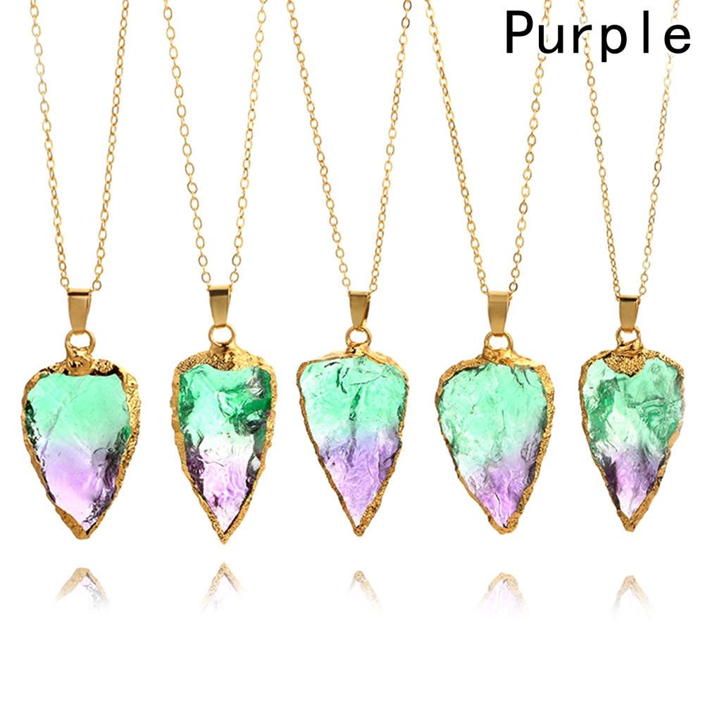 Rainbow Stone Pendant Necklace Fashion Necklace Gold Color