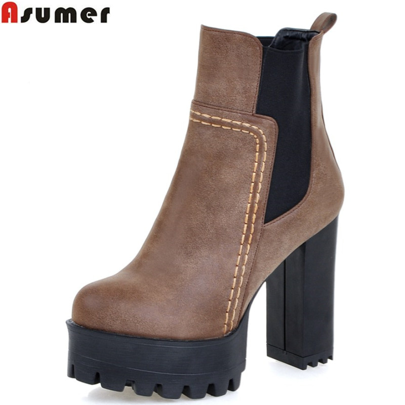 Asumer new arrive 2017 winter warm restoring ankle boots high quality pu nubuck leather thick high heels round toe women boots
