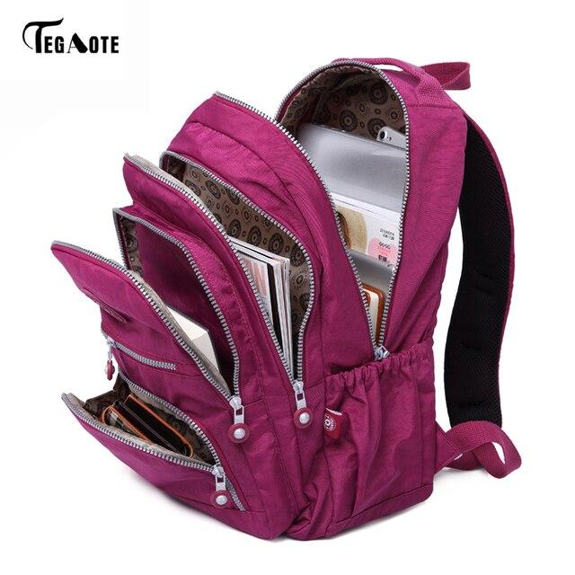Tegaote школьный рюкзак для девочки-подростка Mochila Feminina Для женщин Рюкзаки нейлон Водонепроницаемый Повседневное ноутбук Bagpack Женский мешок сделать