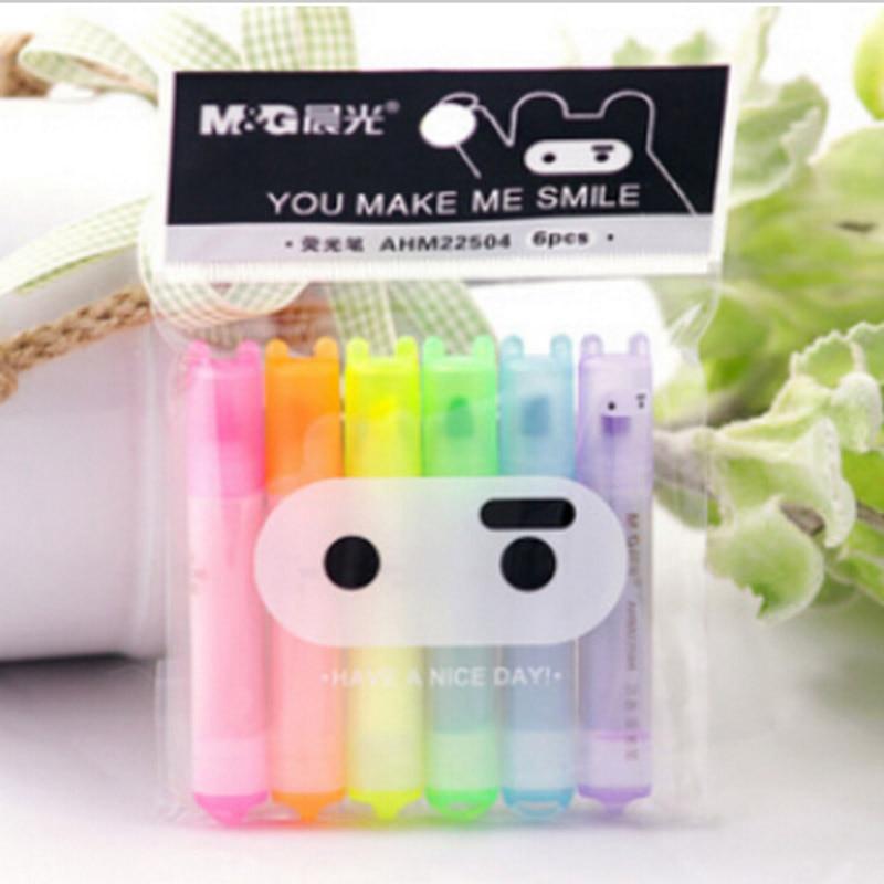 6 pcs/lot Cute Kawaii Mini Highlighter Creative Lovely Cartoon Ninja Rabbit gel Pen for Kids Korean Stationery Free shipping 531 sharpie gel highlighter green