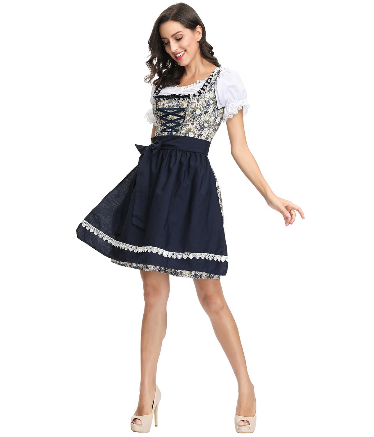 Traditional Bavarian Costume German Oktoberfest Dirndl 3pcs set Beer Maid Wench