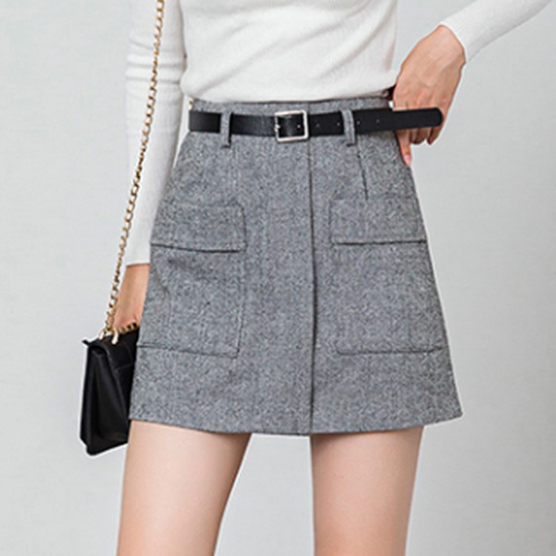 2019 Plus Size S-XL High Waist Mini Skirts Womens Striped Pockets Casual Ladies A Line Short Skirt With Belt Spring And Summer