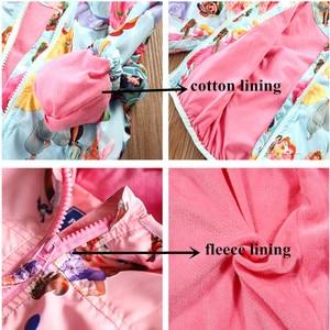 Image 5 - 2020 جاكت مزود بغطاء للرأس للبنات ملابس خارجية للأطفال خريف الأميرة معطف الطفل سترة واقية ملابس الأطفال الوردي زي جديد