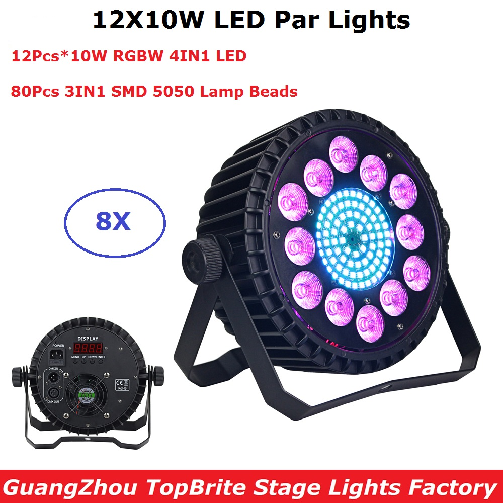 8XLot LED Par Lights 12X10W RGBW 4IN1 LED Flat Par Cans Par LED Spotlights Dj Lighting Projector Wash Effect Lights Indoor Use