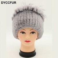 DYCCFUR Knitted Hat 2017 Winter Rabbit Fur Beanies Headgear Women Fox Fur Luxury Ball Rose Flower