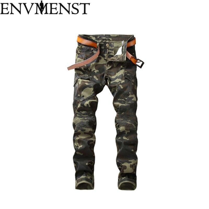 Envmenst Camouflage Denim Biker jeans Mens Skinny 2018 Runway Distressed Slim Elastic Jeans Hiphop Washed