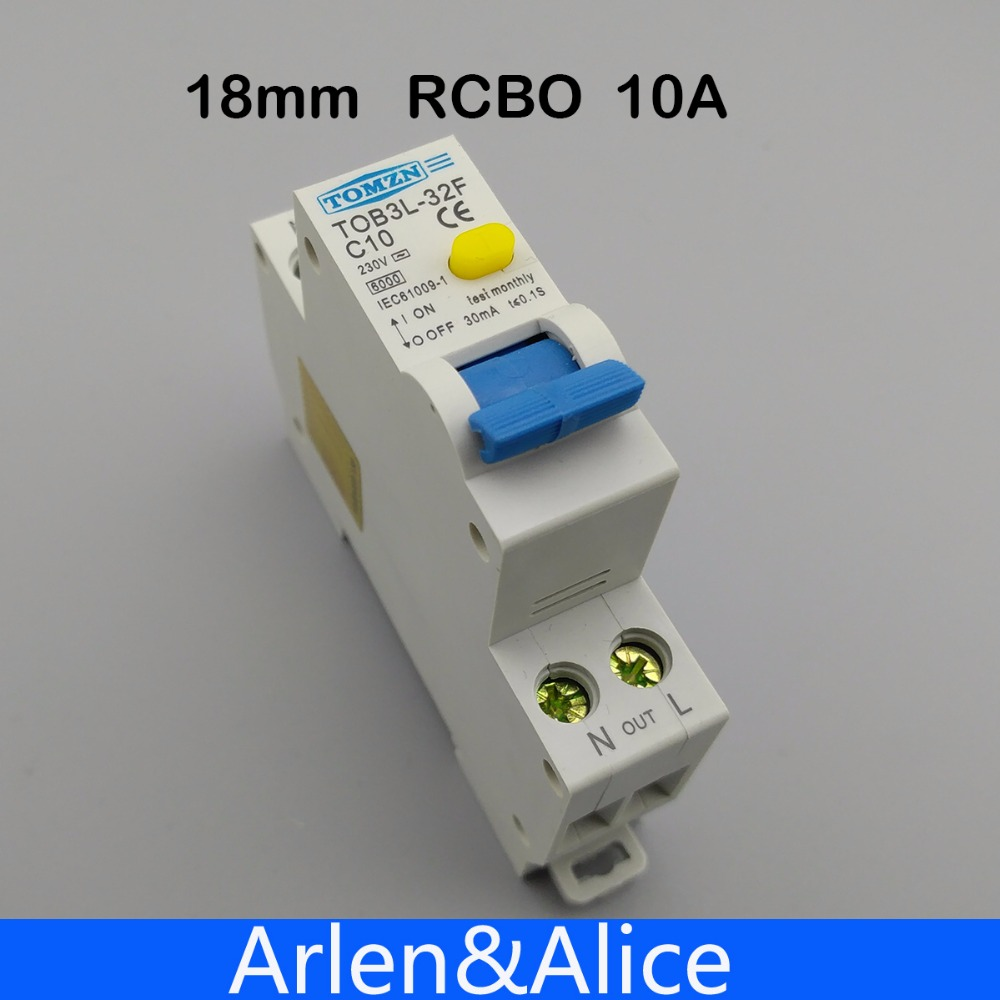18MM RCBO 10A 1P+N 6KA Residual current differential automatic Circuit breaker with over current and Leakage protection leakage circuit protector air switch residual current circuit breaker dz15le 100 490 100a