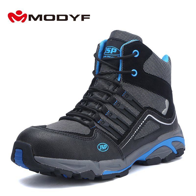 MODYF Safety Boots Shoes For Men SRC Non Slip S1P Protection Work Steel Toe Security Footwear Anti-static Working Safety Boots halinfer men s anti static non slip ankle boots outdoor steel toe cap work