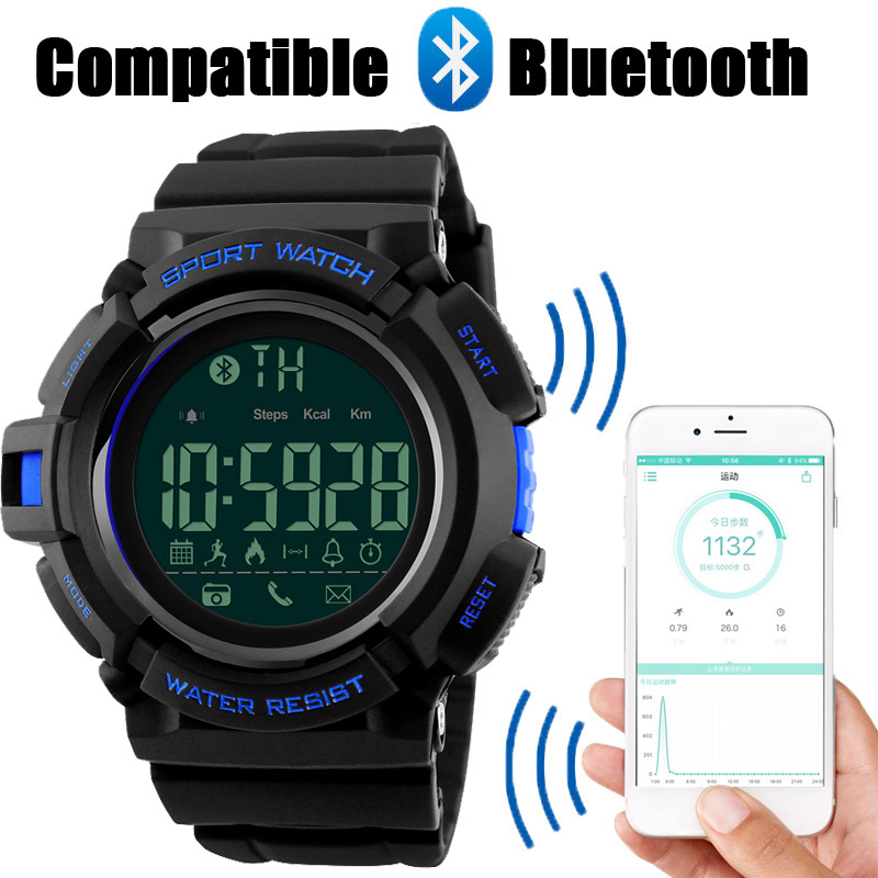 SKMEI Brand Watches Men Bluetoot Remote Camera Smart Sport Watch Man Call Message APP Reminder Smart Clock For IOS Android Phone wireless service call bell system popular in restaurant ce passed 433 92mhz full equipment watch pager 1 watch 7 call button
