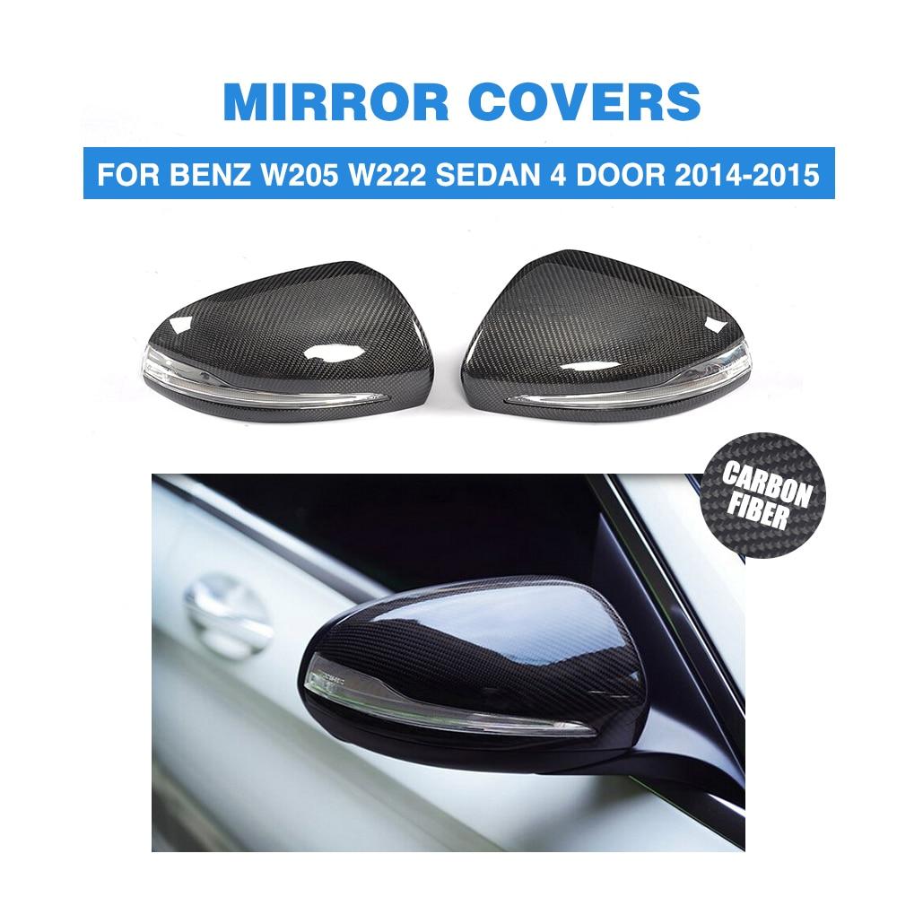 Mersedes Benz W205 W222 LHD 2014-15 üçün Dönüş siqnalı ilə Karbon Fiber Dəyişdirmə Stili Yan Qapı güzgü örtükləri