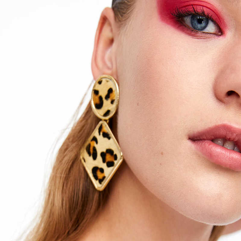 Best Lady Geometric Round Square Drop Earrings Fashion Party Women Leopard Print Long Dangle Earrings Boho Ethnic Maxi Jewelry