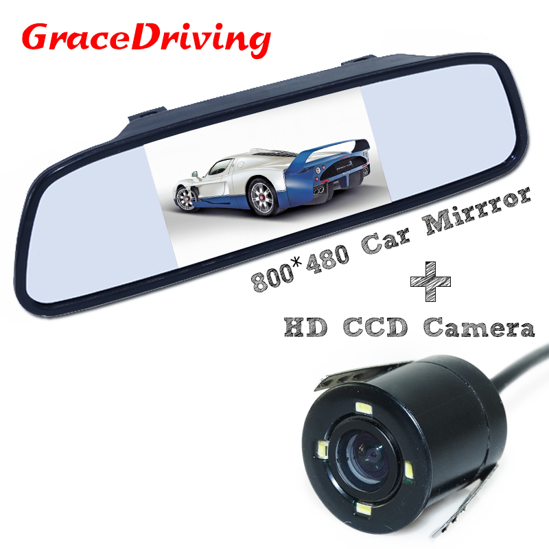 Promotion For Parking New 4.3Inch 800*480 LCD Car Hd Display Rear View Mirror Monitor 2ch Video Input ,free Shipping
