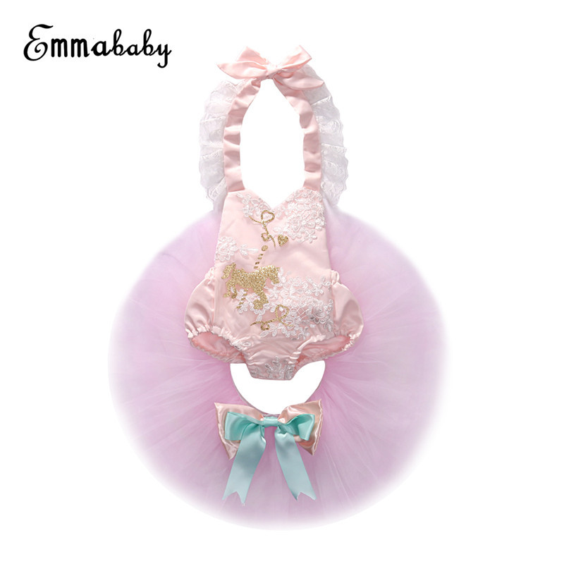 Lovely Summer Baby Girls Clothes Set Newborn Baby Girls Backless Lace Tops Romper+Tulle Skirts Sunsuit Outfit 2018 Baby Clothing