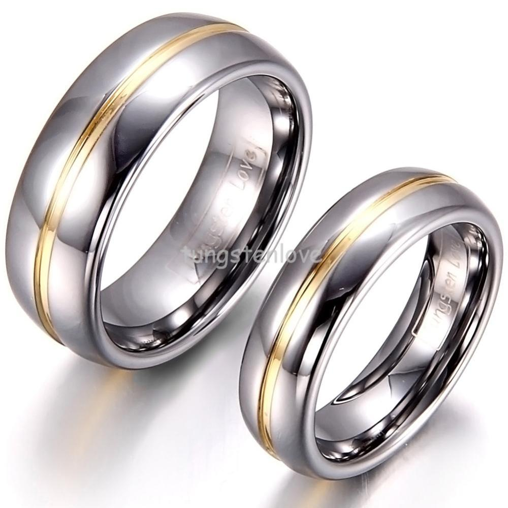 1 Piece Mens Womens Couple Gold Inset Tungsten Carbide