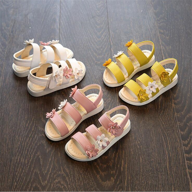 QGXSSHI Pretty Flower Kids Sandals For Girls Summer Princess Shoes Baby Toddler Children Soft Leather Sandal Girl Fashion Shoes