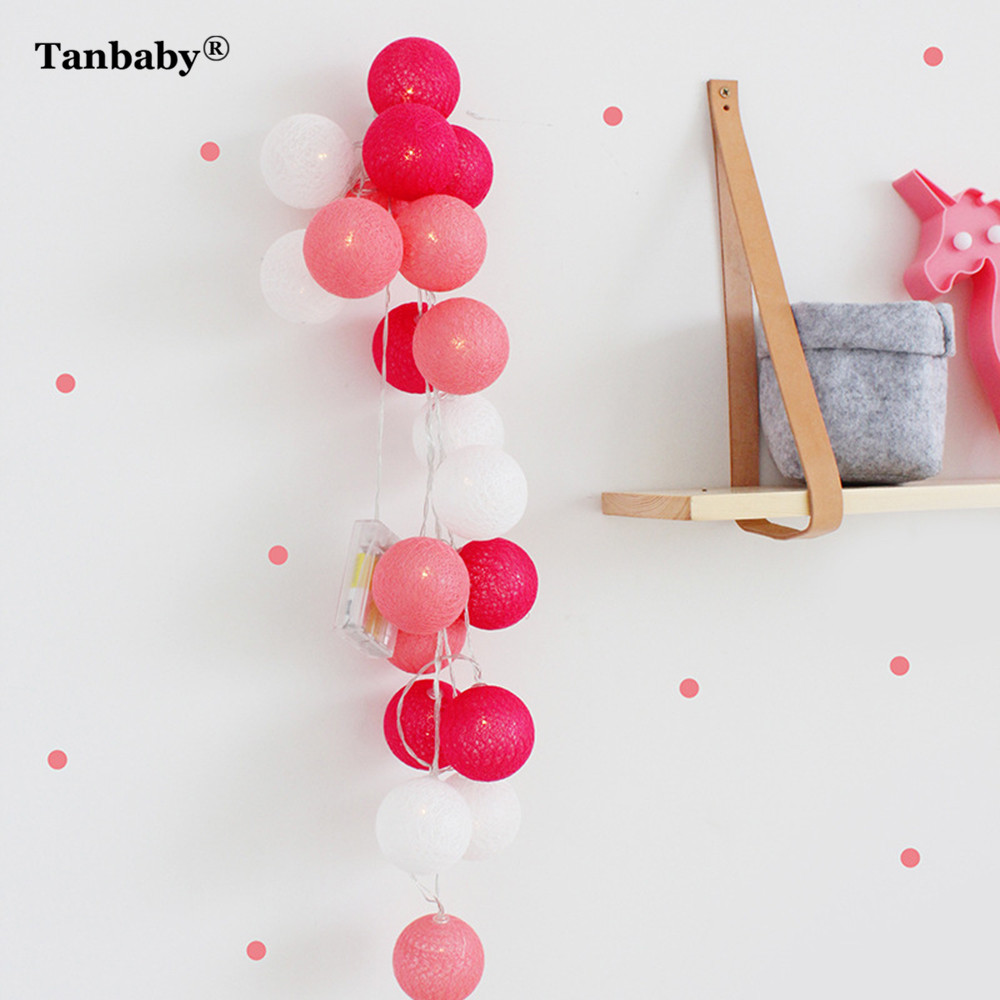 Tanbaby 3M 20LED Cotton Ball LED String Light Battery Powred Globe Ball Fairy String Light 7 Color New Year Christmas Decoration
