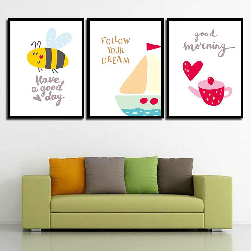 Wall Art Print Cartoon Bees Cake Pictures Watercolor Teapot Canvas Poster Kitchen Nordic Style Painting Living Room Home Decor