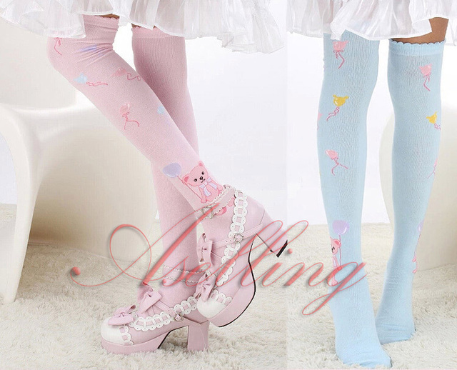 (61-460) Japanese Girl Flower Cotton Knee Cosplay lolita Thigh-High Hose Stockings