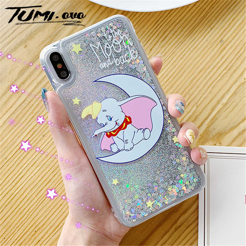 Moon Dumbo Elephant Liquid Quicksand Case For Samsung Galaxy A50 A30 A10 M10 M20 J3 J4 J6 J8 A6 A7 A8 A9 2018 S10 Lite S9 Plus