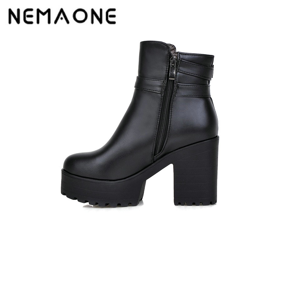все цены на NEMAONE New women thick high Heels platform Ankle Boots winter Motorcycle Boots women Fashion boots casual shoes woman