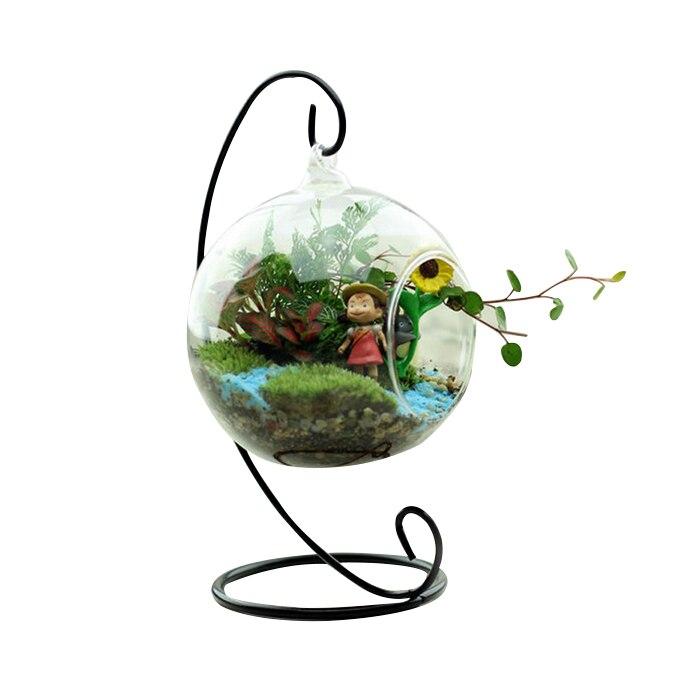 Стекло Круглый с 1 отверстие цветок завод висит ваза офис Свадебный декор