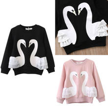 cd580d169 Fashion Baby Kids Girls Pullover Cotton Swan Hoodies Sweatshirt Top Tee  Long Sleeve Clothes(China