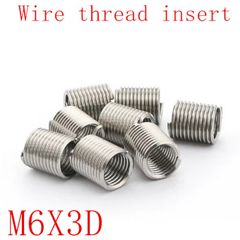 50 sztuk M6 * 1 0 * 3D wątek nici z drutu ze stali nierdzewnej 304 z drutu m6 śruba tuleja Helicoil nici wkładki do naprawy tanie i dobre opinie Drzewa wstaw Obróbka metali M6X3D stainless steel