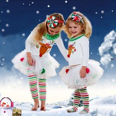 2015 Elegant Baby Girls Christmas Reindeer Top Tutu Tulle skirt Pants 2-pc Outfit set children Christmas clothing 2015 elegant baby girls christmas reindeer top tutu tulle skirt pants 2 pc outfit set children christmas clothing