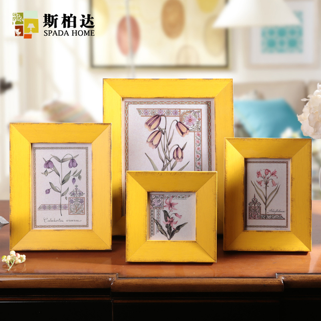 Free Shipping Vintage Yellow Picture Frames Wooden Photo Europe Style Good Quality Creative Home Decoration