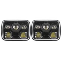 Pair Black 7 X 6 LED Headlights With 80W High Beam 60W Low Beam 60w Daytime
