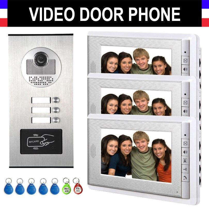 2/3/4 unités système d'interphone d'appartement interphone vidéo Kit de visiophone moniteur de 7 pouces avec porte-clés RFID pour 2-4 ménages