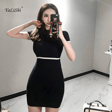 2018 Summer Bodycon Bandage Knitting Dress Women Black Short Sleeves Casual Runway Office Party Slim Mini Vestidos