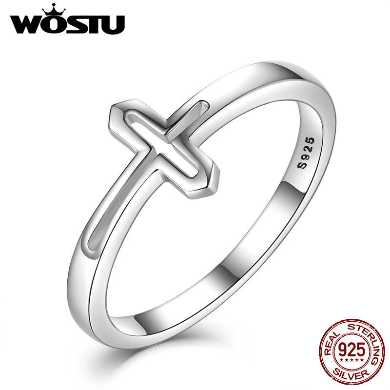 WOSTU Hot Real 925 Sterling Silver Devout Cross Rings For Women Luxury European Authentic S925 Fine Jewelry Gift CQR033 wostu new arrival real 925 sterling silver luminous glow rings for women authentic fine jewelry gift zbb7640