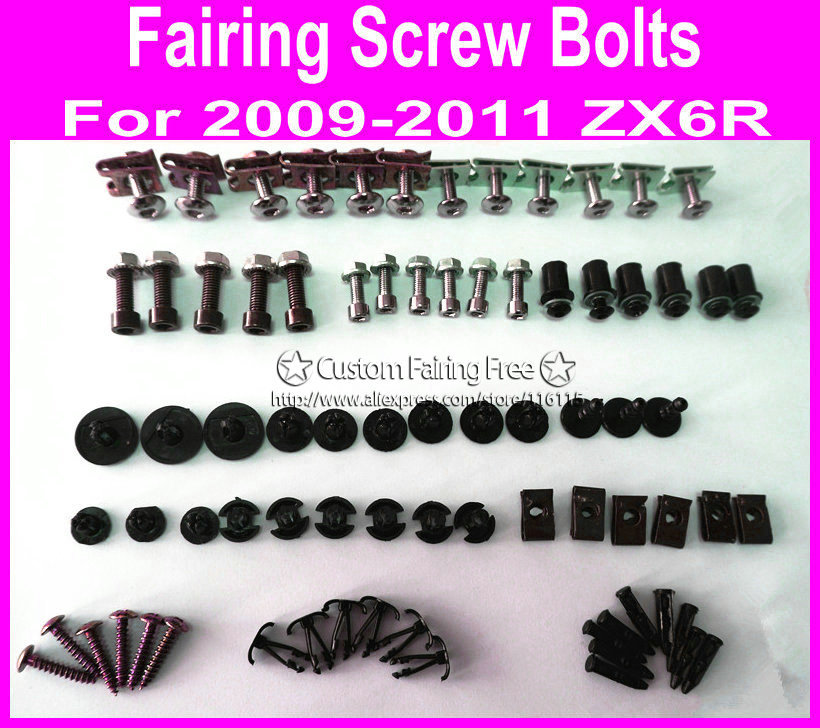 NEW custom fairing screw bolt kit for Kawasaki ZX6R 2009 2010 2011 zx6r 09 10 11 black fairing dag screws coupling bolt set