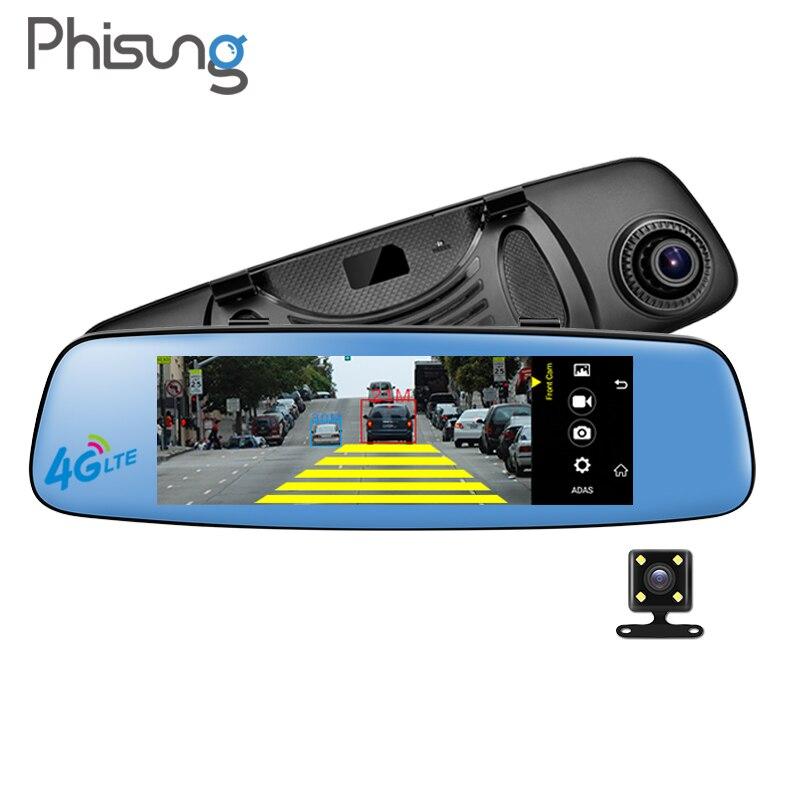 Phisung E06 DVR auto specchio Android autoregistrator RAM 1 GB ROM 16 GB ADAS BT FM WIFI Dual Camera 7.84