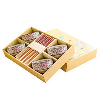 Chinese style and Japanese tableware set Ceramics Sushi Saucer Set , Bowls and Chopsticks Set, in Delicate Gift Box Three Color