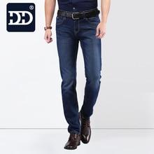 2016 известный бренд завода кожа молния Для мужчин Джинсы 2016 Deep Blue Slim Прямые джинсы Для мужчин Брюки masculina vaqueros Для мужчин
